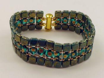 flaches Armband in türkis-grün