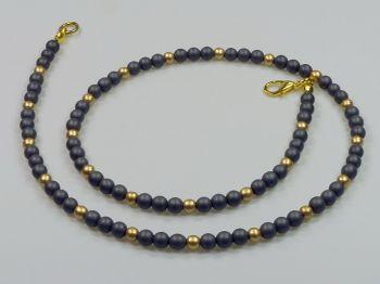 Zarte Halskette anthrazit und goldfarben