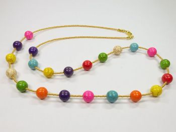 Variable Halskette mit bunten Steinen